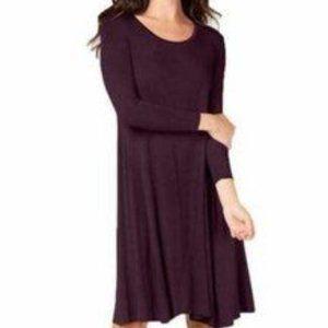 Style & Co Dark Plum Light-Weight Swing Midi Dress